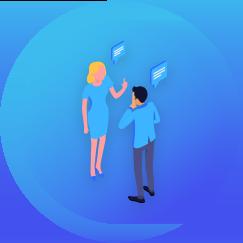 Zukunftspioniere Online Kongress - Lebensbereich Beziehungen blaue Grafik mit zwei Personen die miteinander sprechen