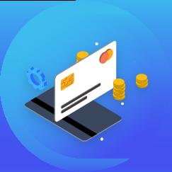 Zukunftspioniere Lebensbereich Finanzen - Grafik mit blauem Hintergrund Geldkarte und Münzen