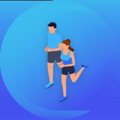 Kreis mit blauem Hintergrund und Mann und Frau joggen