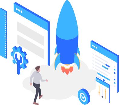 Zukunftspioniere Online Kongress - Rakete mit digitalen Feldern und Person